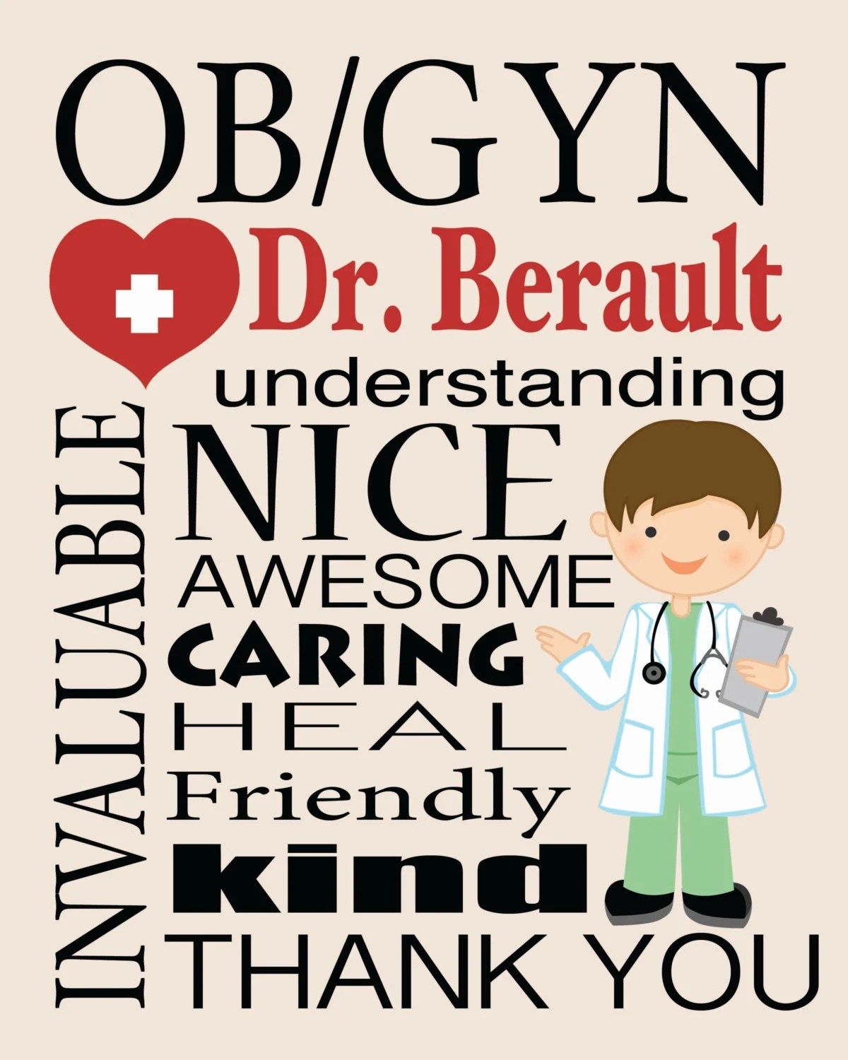 Ob Gyn Personalized Print T For Doctor Doctor Subway