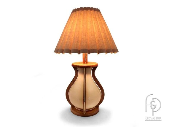 70's Bulb Shaped Table Lamp Oak Brass And Glass Glass