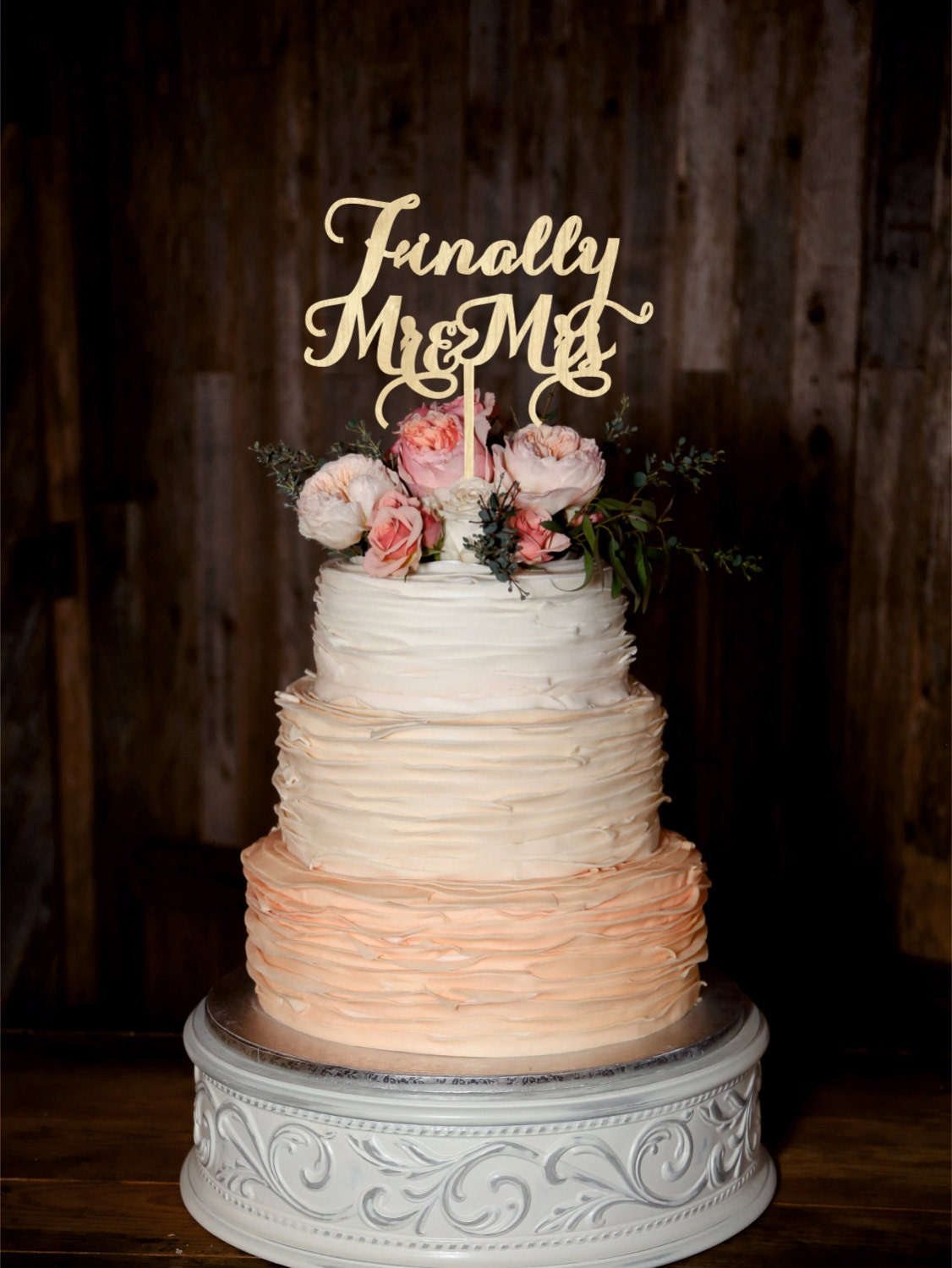 Finally Mr Mrs Wedding Cake Topper Wood Cake By