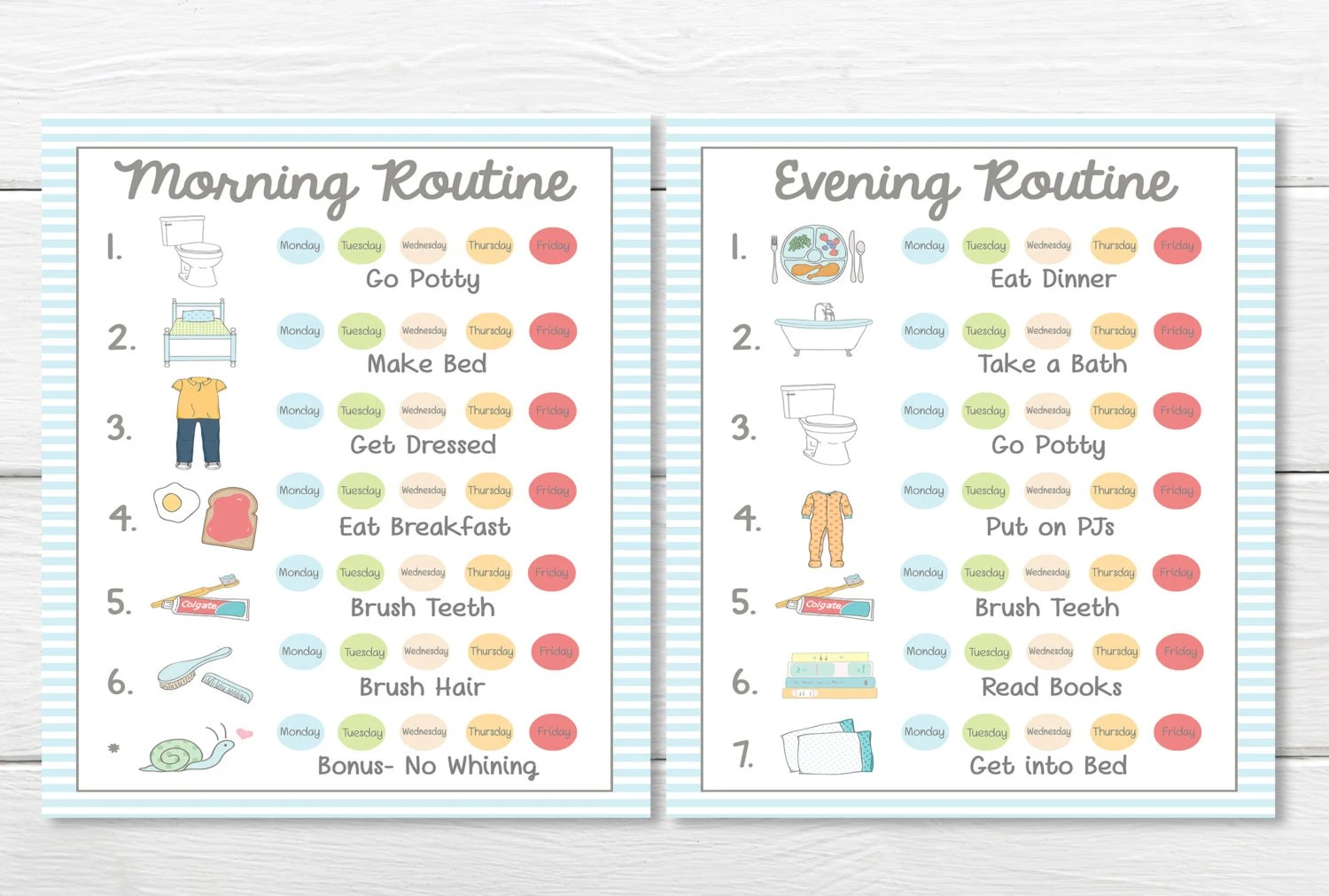 Printables Weekly 5 Day Young Child Toddler Boys Chore