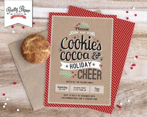 Christmas Party Invitation Holiday Cookie Exchange