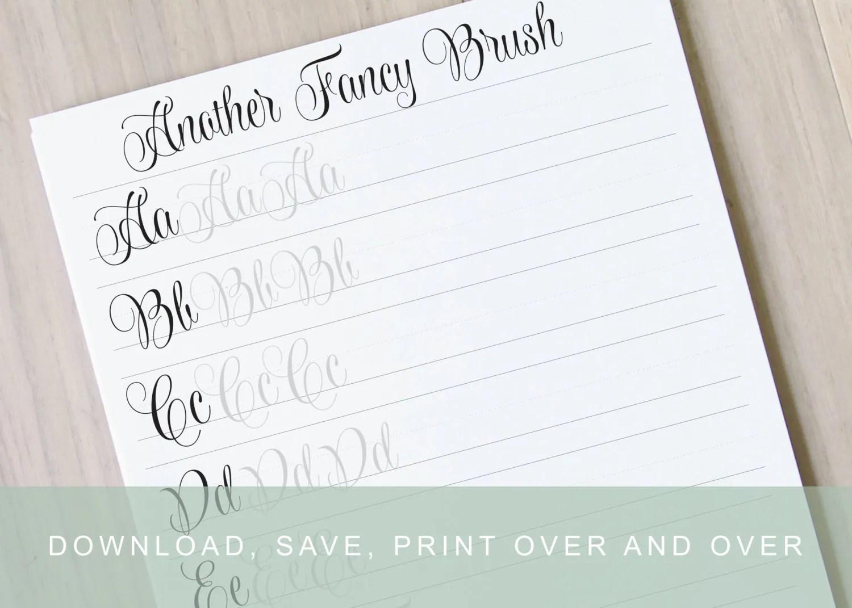 Modern Brush Calligraphy Lettering Worksheets Calligraphy Practice Guides Learn Calligraphy