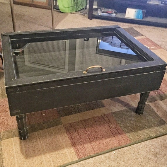 Display Case Metal And Rustic Coffee Tables