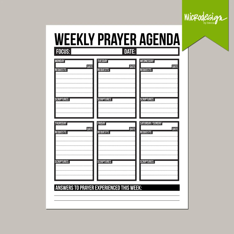 Weekly Prayer Agenda Printable Sheet
