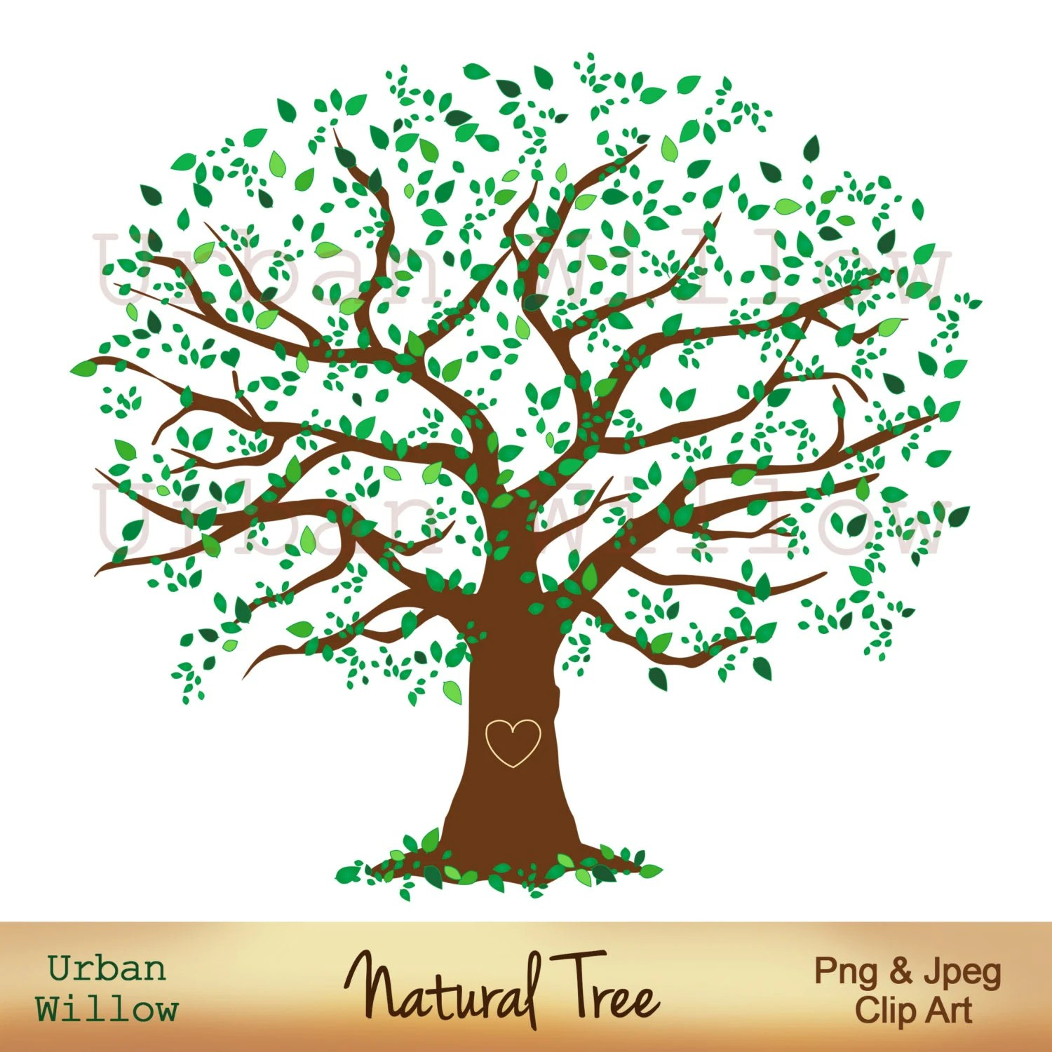Family Tree 12 Inch Natural Tree Clip Art Large Leafy