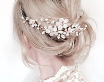 bridal 3 tier gold chain pearl hair chain b wedding hair