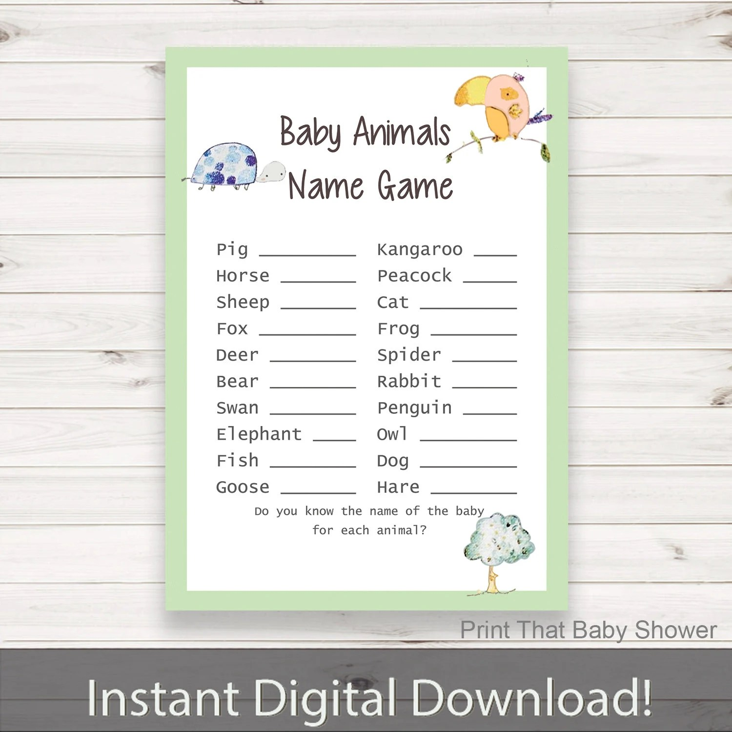 Baby Shower Games Baby Animals Name Game Jungle Baby