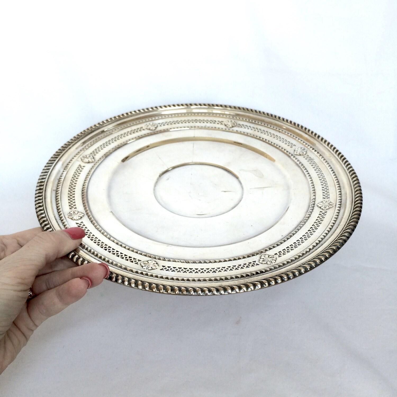 Vintage Silver Pedestal Tray Cake Plate By Ellasatticvintage