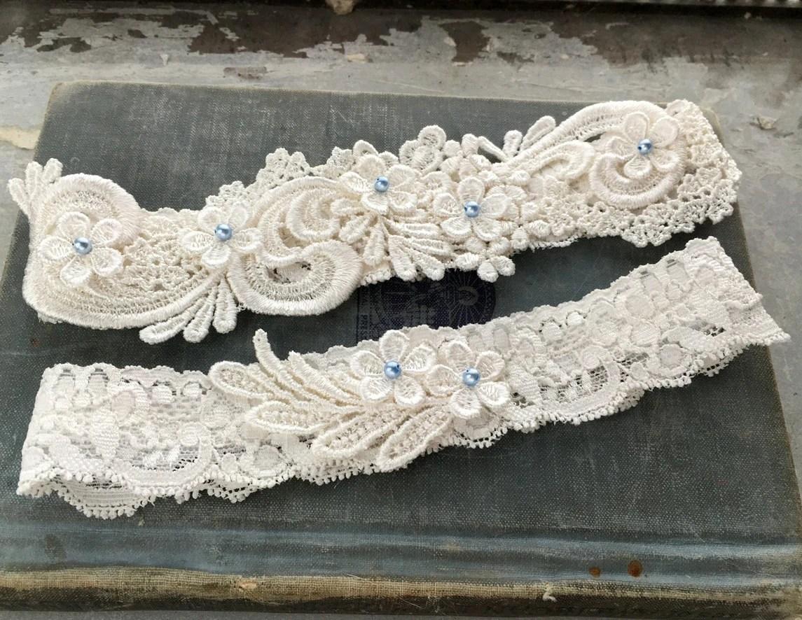 Lace Wedding Garter SET Something Blue Wedding Garter Set