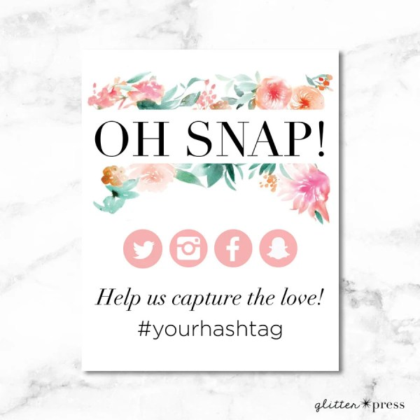 Oh Snap Instagram Sign Personalized wedding by theglitterpress