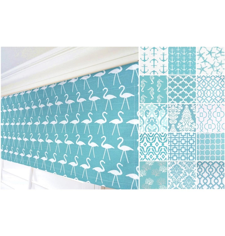 Aqua Valance Curtain Grey Curtain Nautical Anchor Curtain