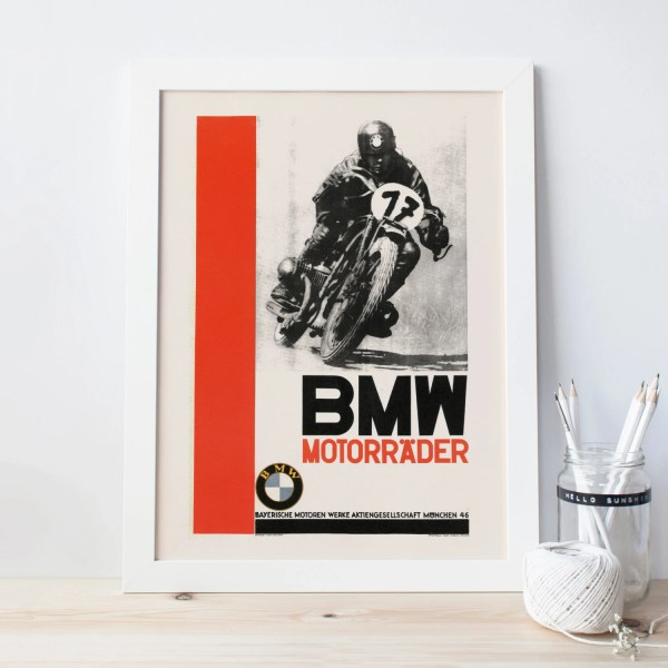 Vintage BMW Poster ART DECO Print Reproduction High Quality
