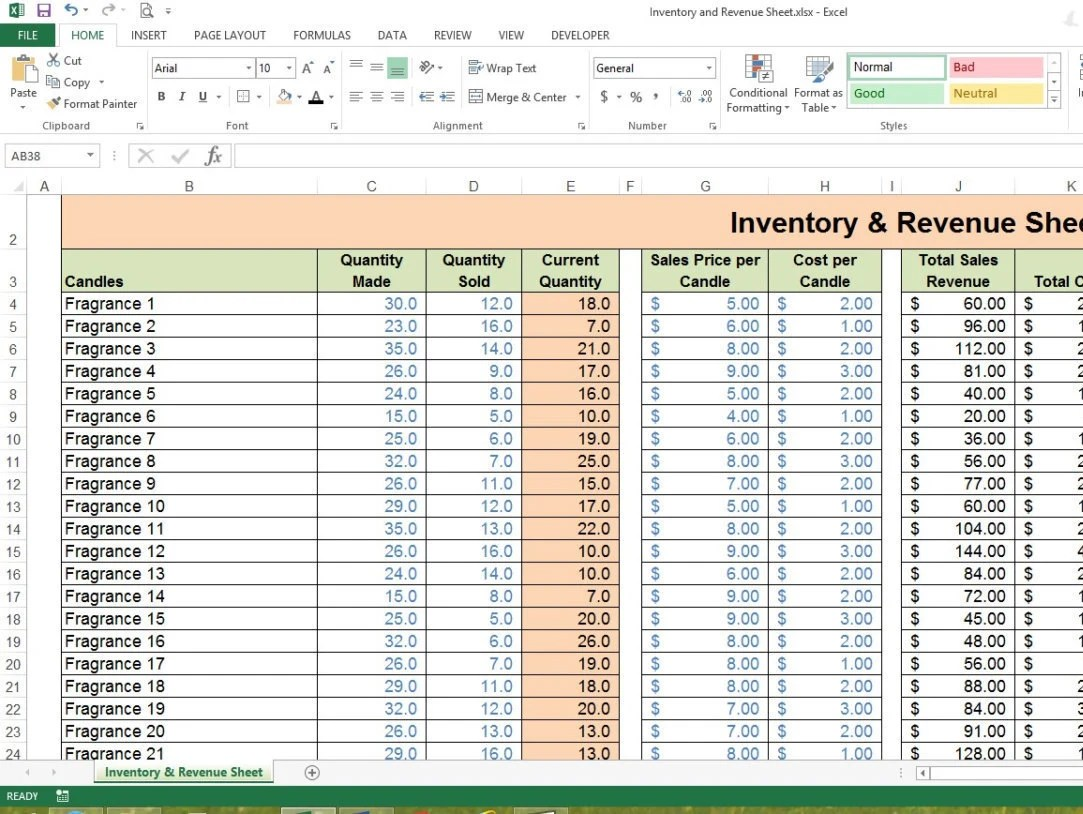 Inventory Amp Revenue Sheet Excel Spreadsheet Small Business