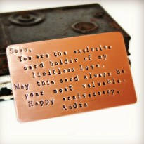 Wallet Card Insert, BRUSHED MATTE FINISH, Copper, Hand Stamped, Anniversary, Valentine's, Love, Wedding, Personalized Gift, Customized