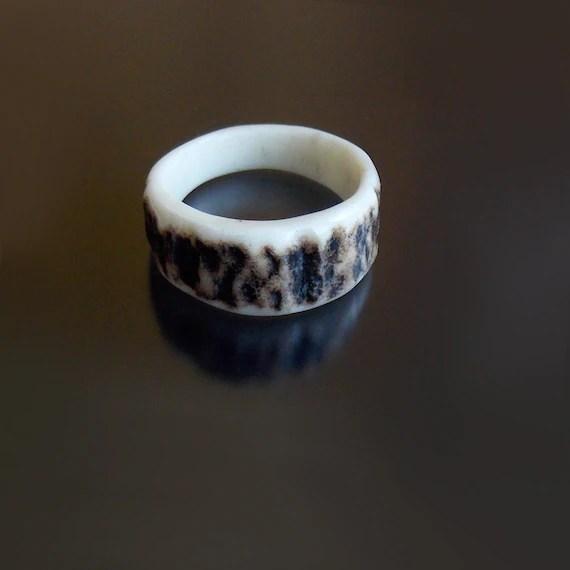 Deer Antler Ring Rustic Antler Wedding Band Antler Wedding