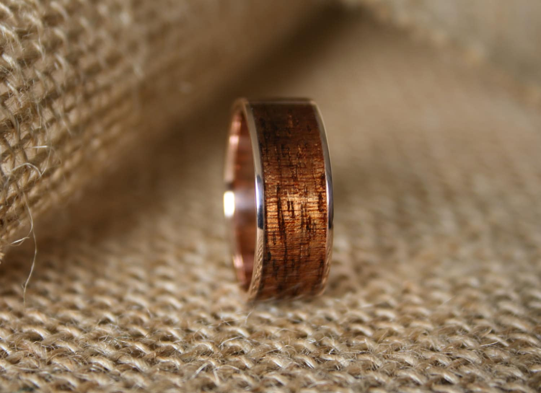 Mens Wedding Band 14k Rose Gold Ring With Hawaiian Koa