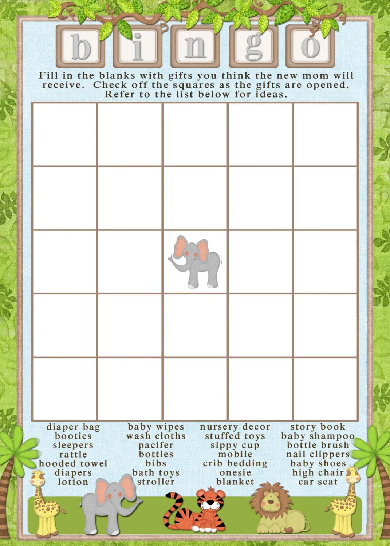 Printable Blank Bingo Card Printable Safari By