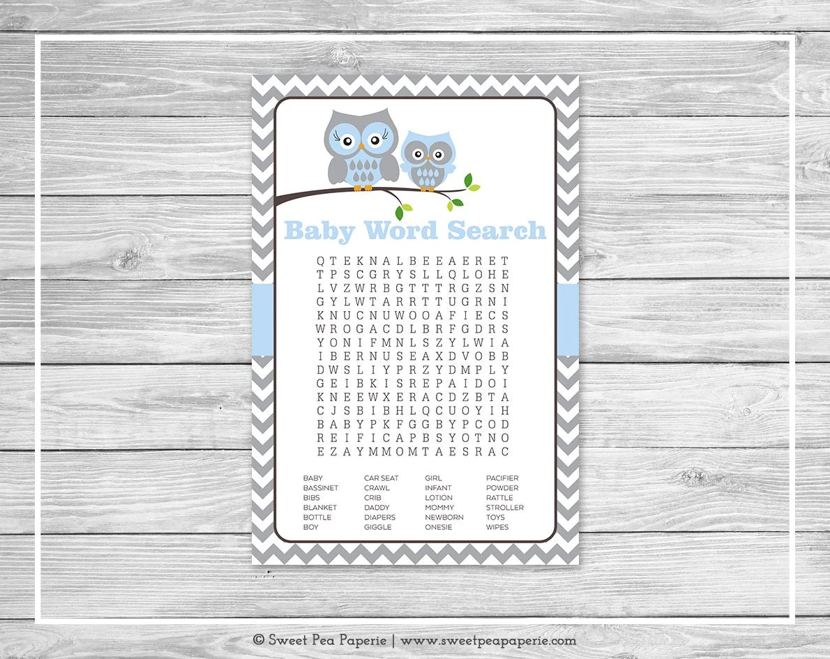 Owl Baby Shower Baby Word Search Game Printable Baby Shower