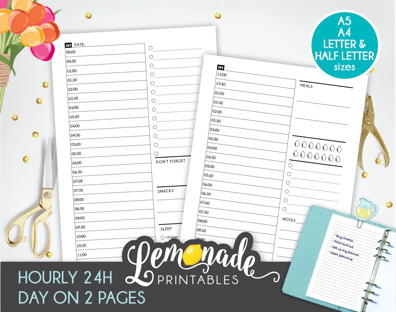 Hourly Planner Insert Printable 24 Hours Day On 2 Page