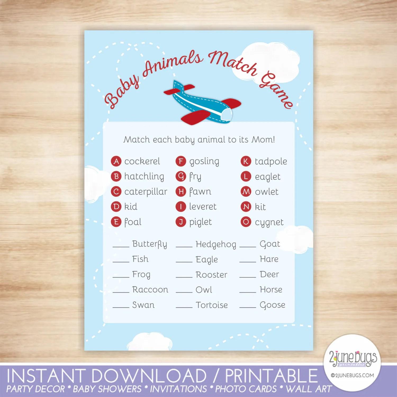 Airplane Baby Animal Match Baby Shower Game Little Aviator