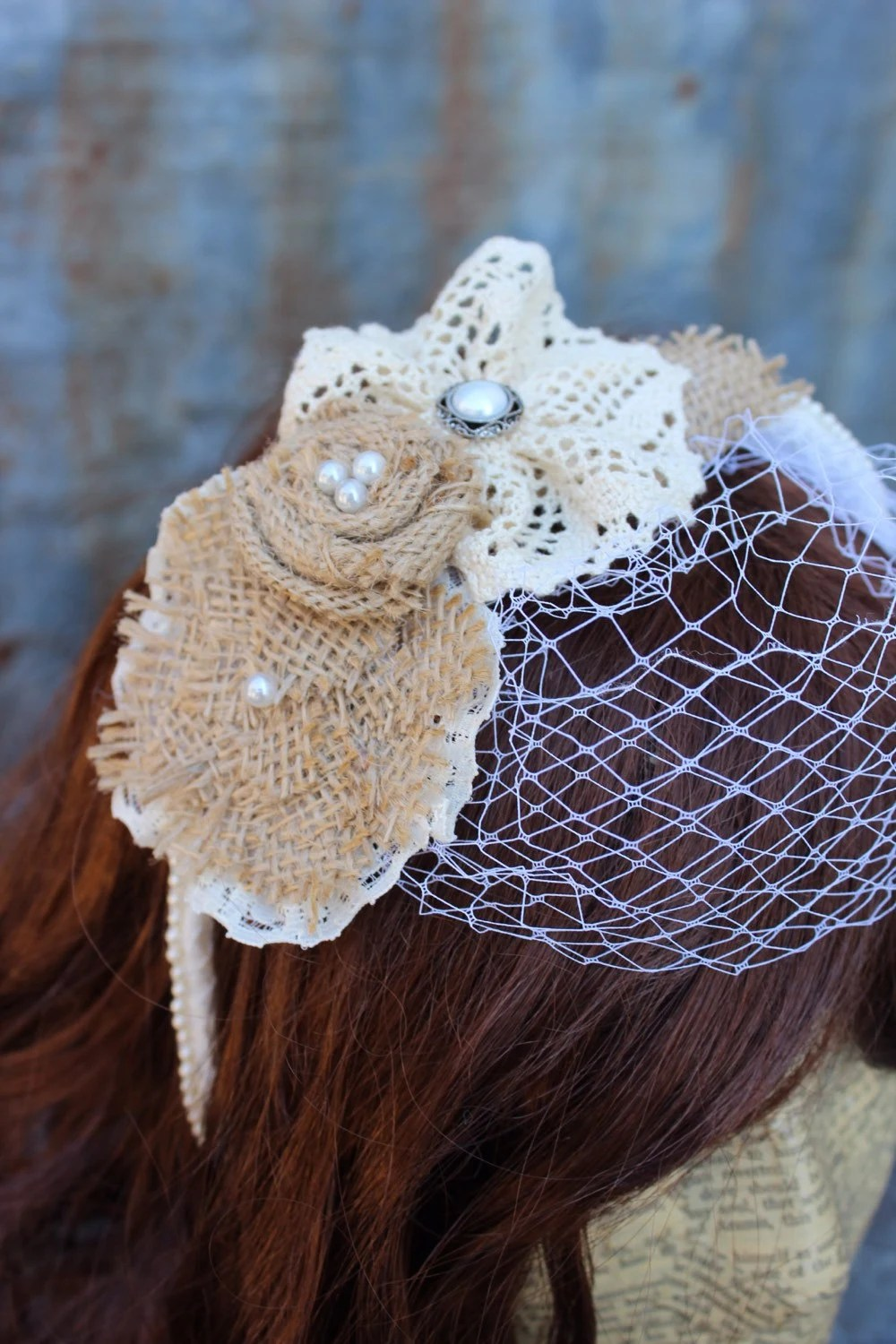 Ready To Ship Sunflower Burlap Lace And Pheasant Feather