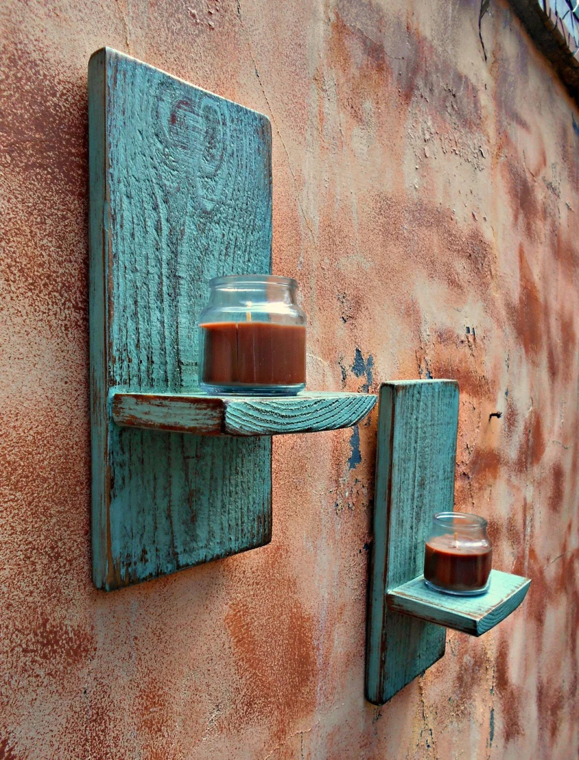 Wood Wall Sconce Rustic Candle Sconce Set of 2 Reclaimed on Rustic Wall Sconces id=24234