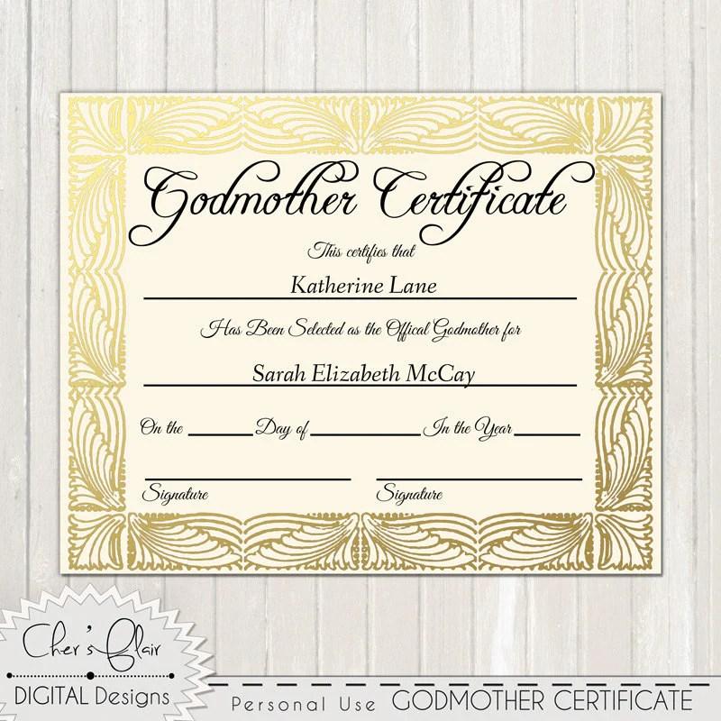 Godparent Certificate Wording