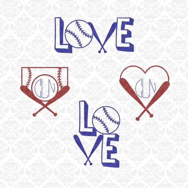 Download Love Baseball Softball Fast Pitch Monogram Heart SVG ...