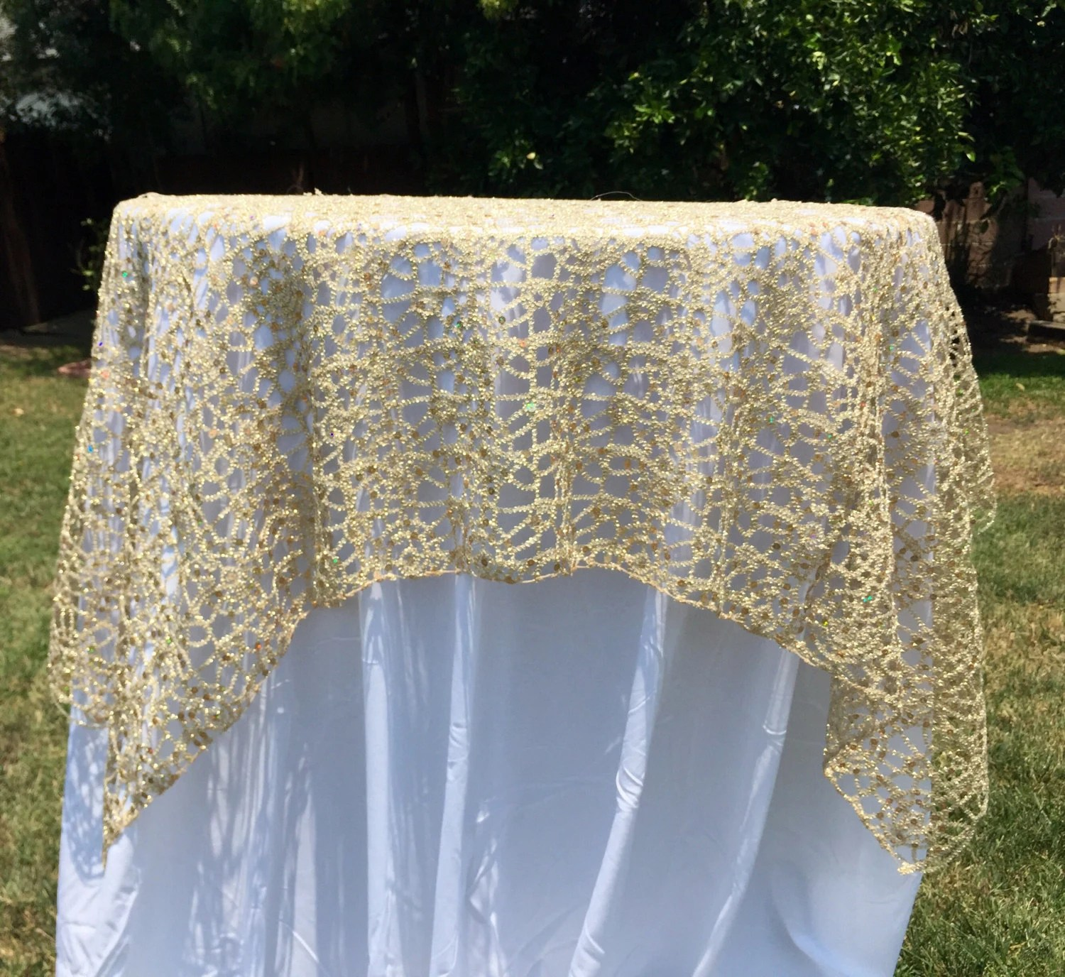 Items Similar To Vintage Lace Tablecloth Gold Or Silver