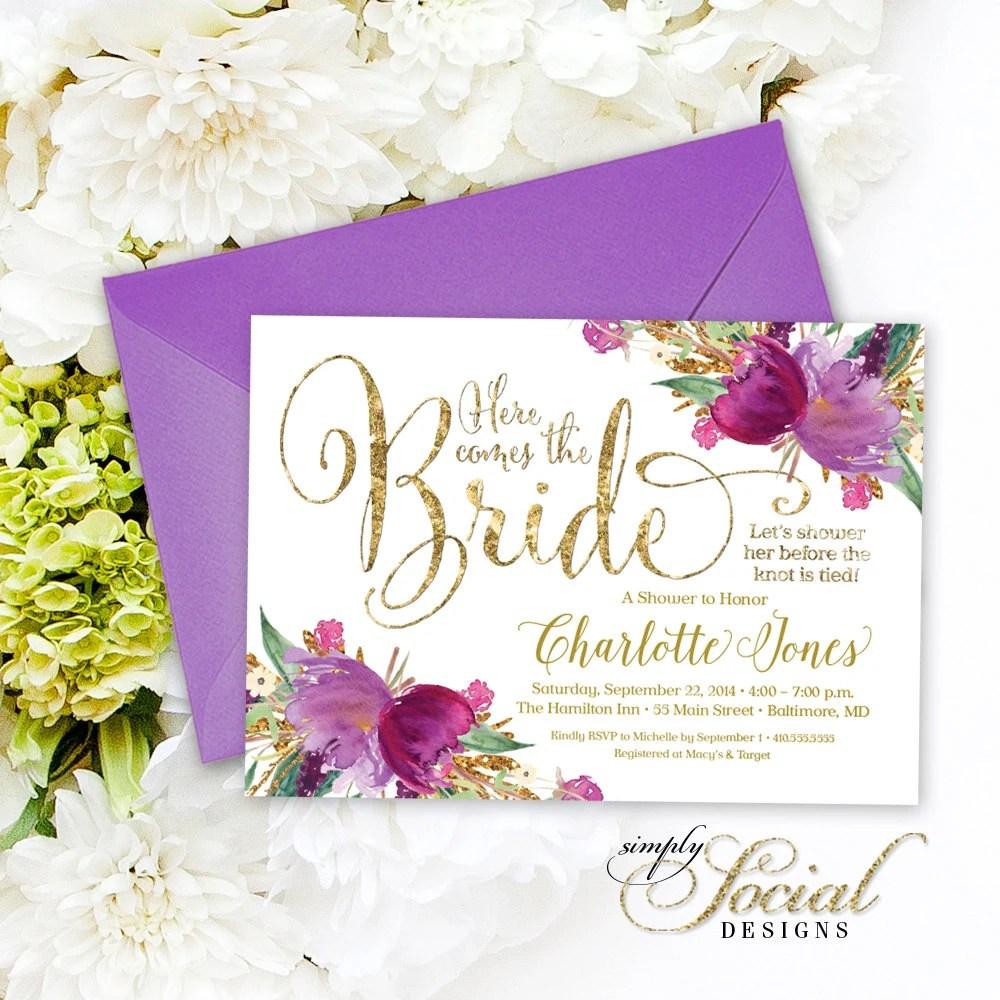 Purple Bridal Shower Invitations