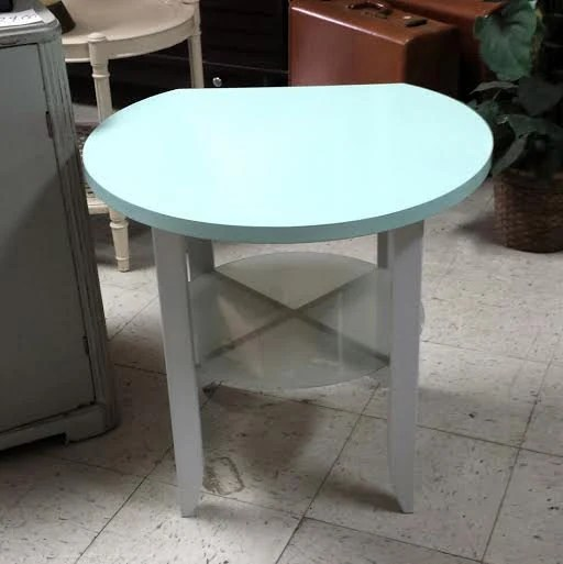 Vintage Round Modern Style End Table In Coastal Mint Green