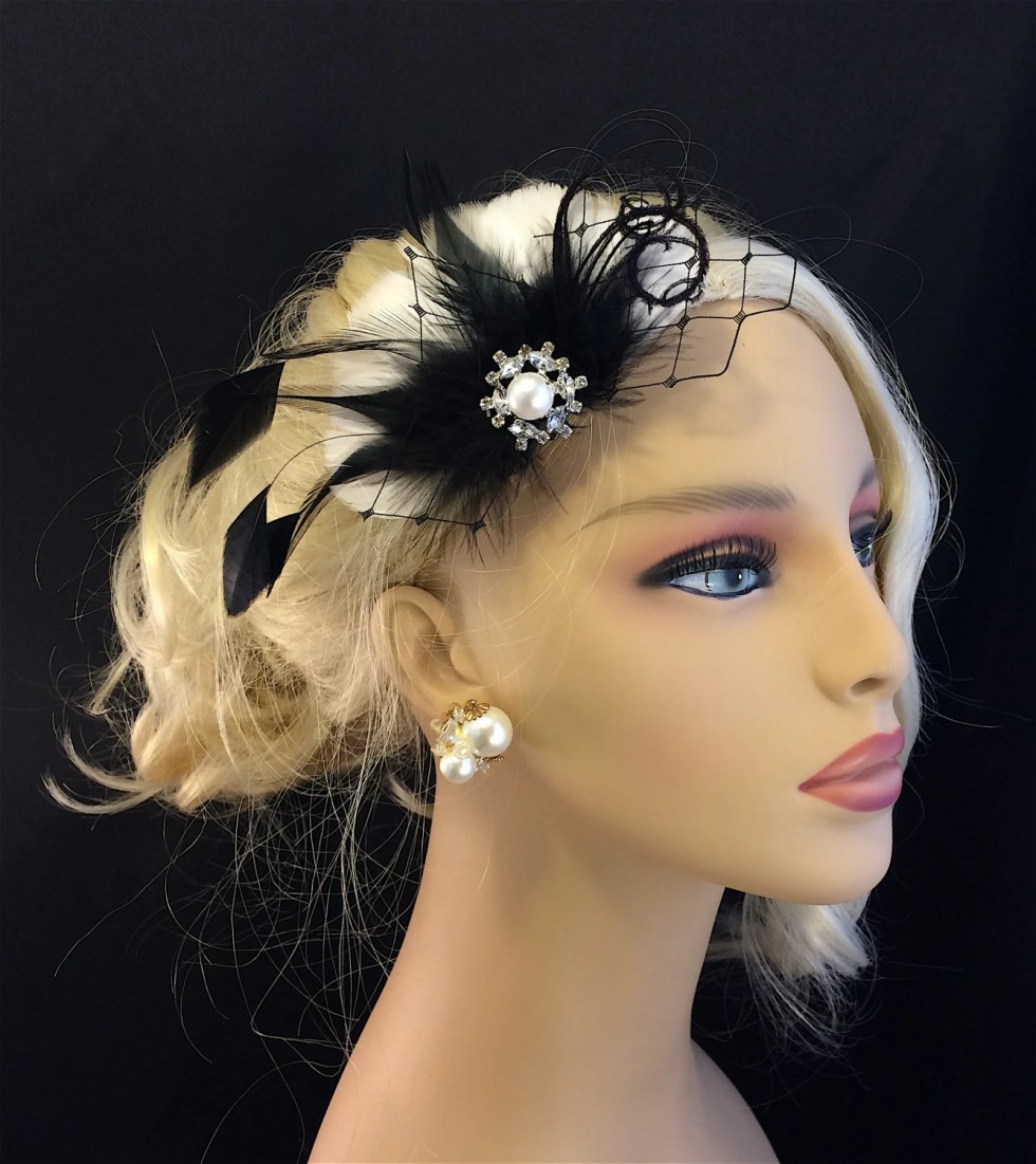 1920s Vintage Style Fascinator, Wedding Hair Fascinator, Bridal Headpiece, Wedding Hairpiece, Great Gatsby, Bridesmaid, Choose Color