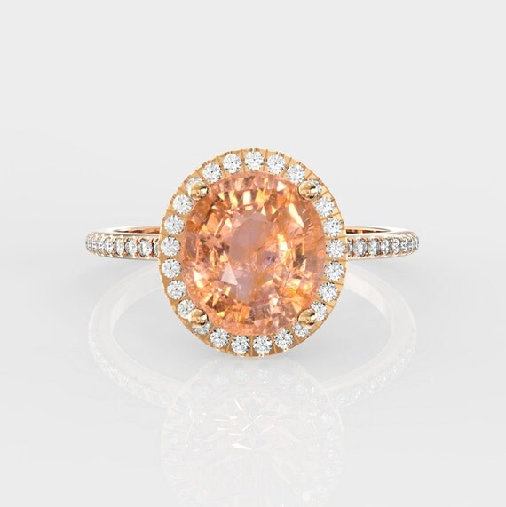 Padparadscha sapphire engagement ring,