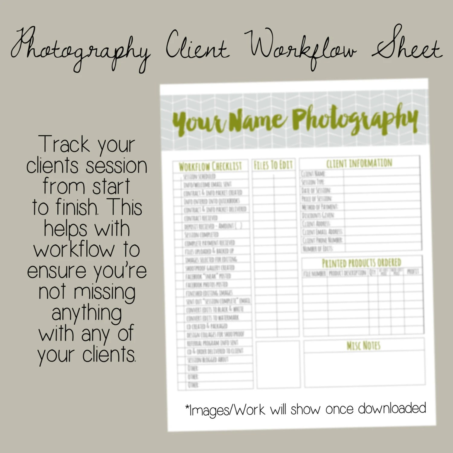 Photographer Client Workflow Sheet Photography