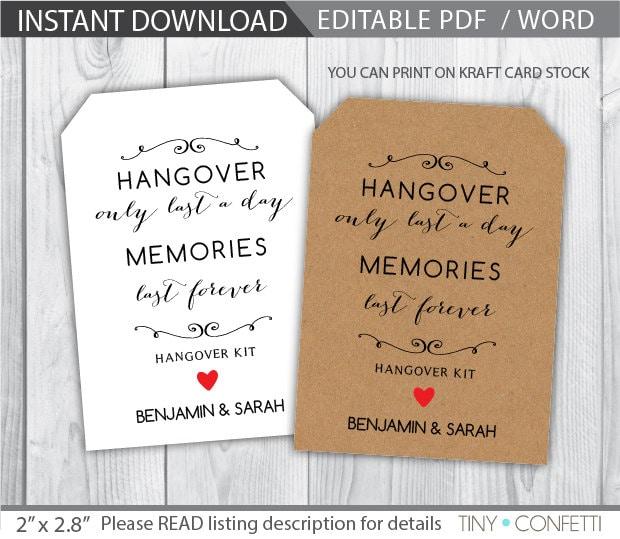 Hangover Kit Tags Wedding Hangover Kit Favor Tags Wedding