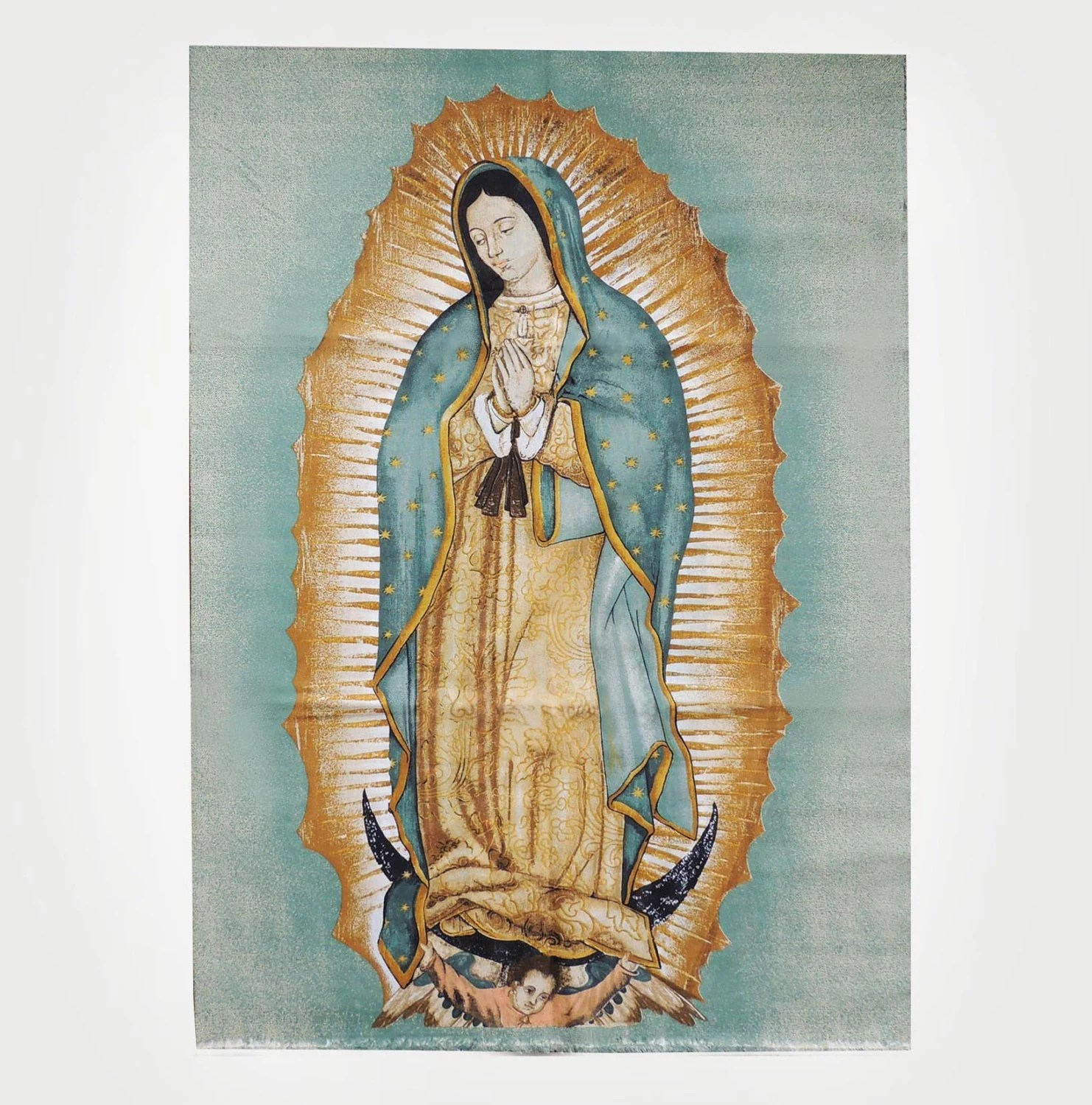 Large Virgin Of Guadalupe Fabric Rectangle Print By