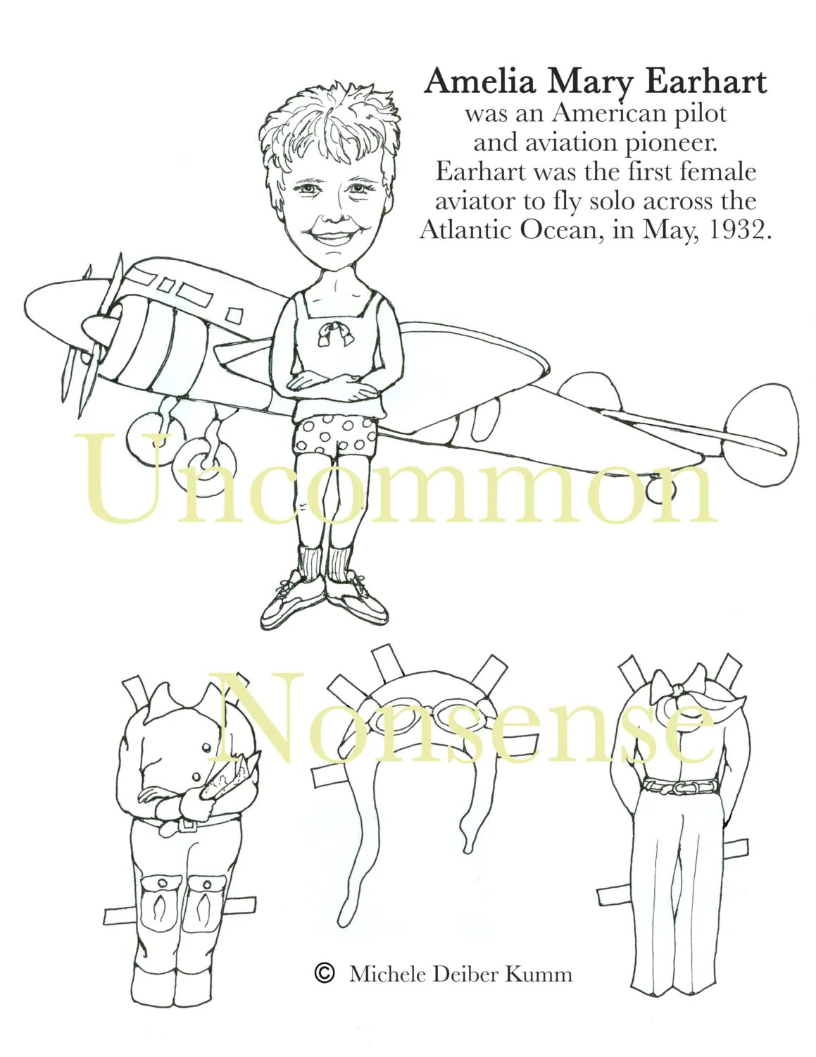 Amelia Earhart Paper Doll To Color And Cut