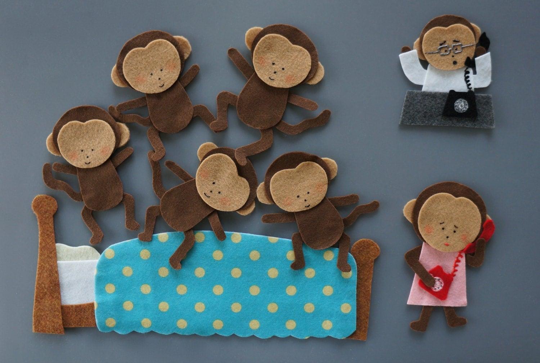 Five Little Monkeys Felt Set Jumping On Bed Amp Hanging On