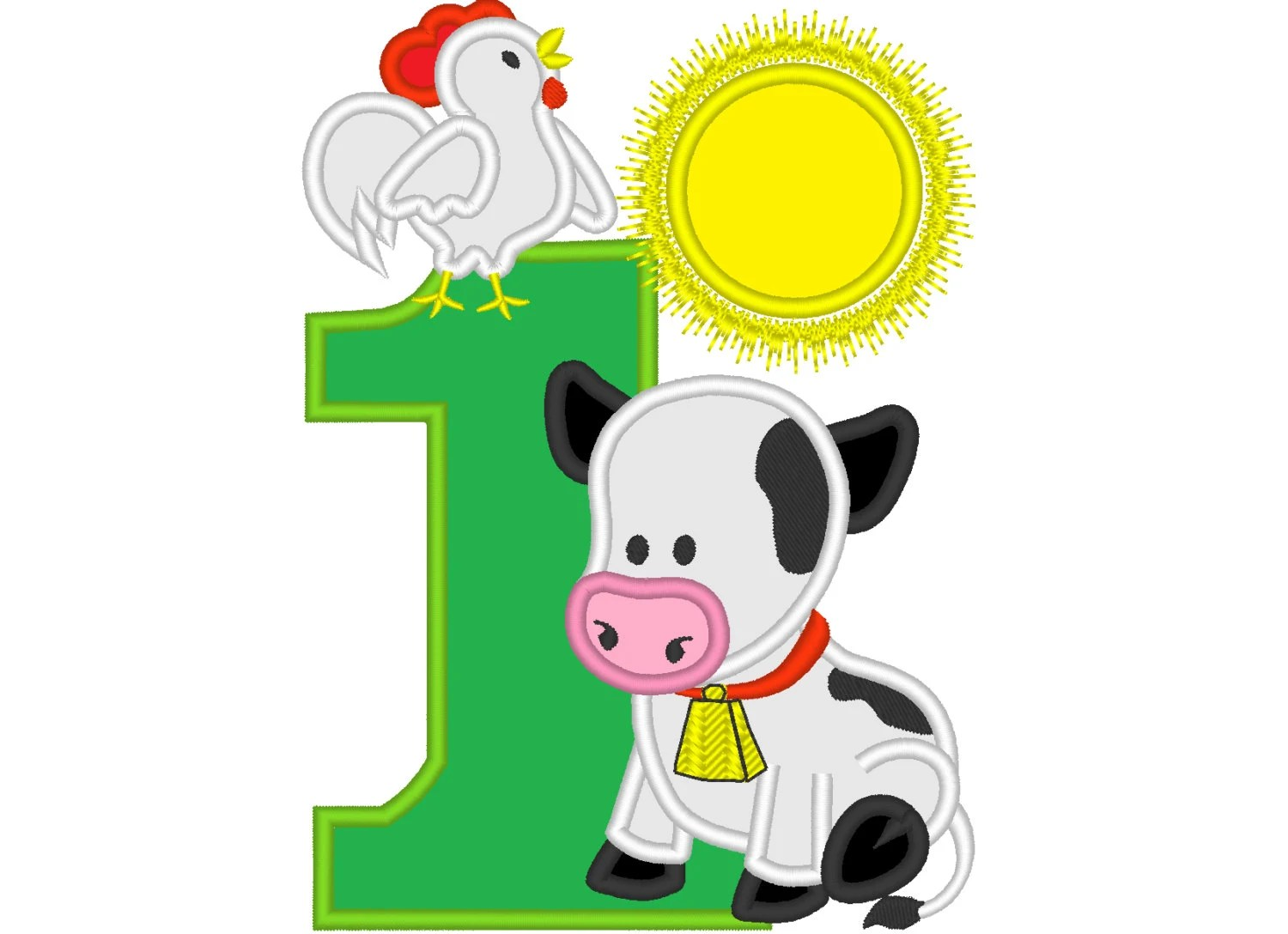 Farm Birthday Number One 1 With Cow And Rooster