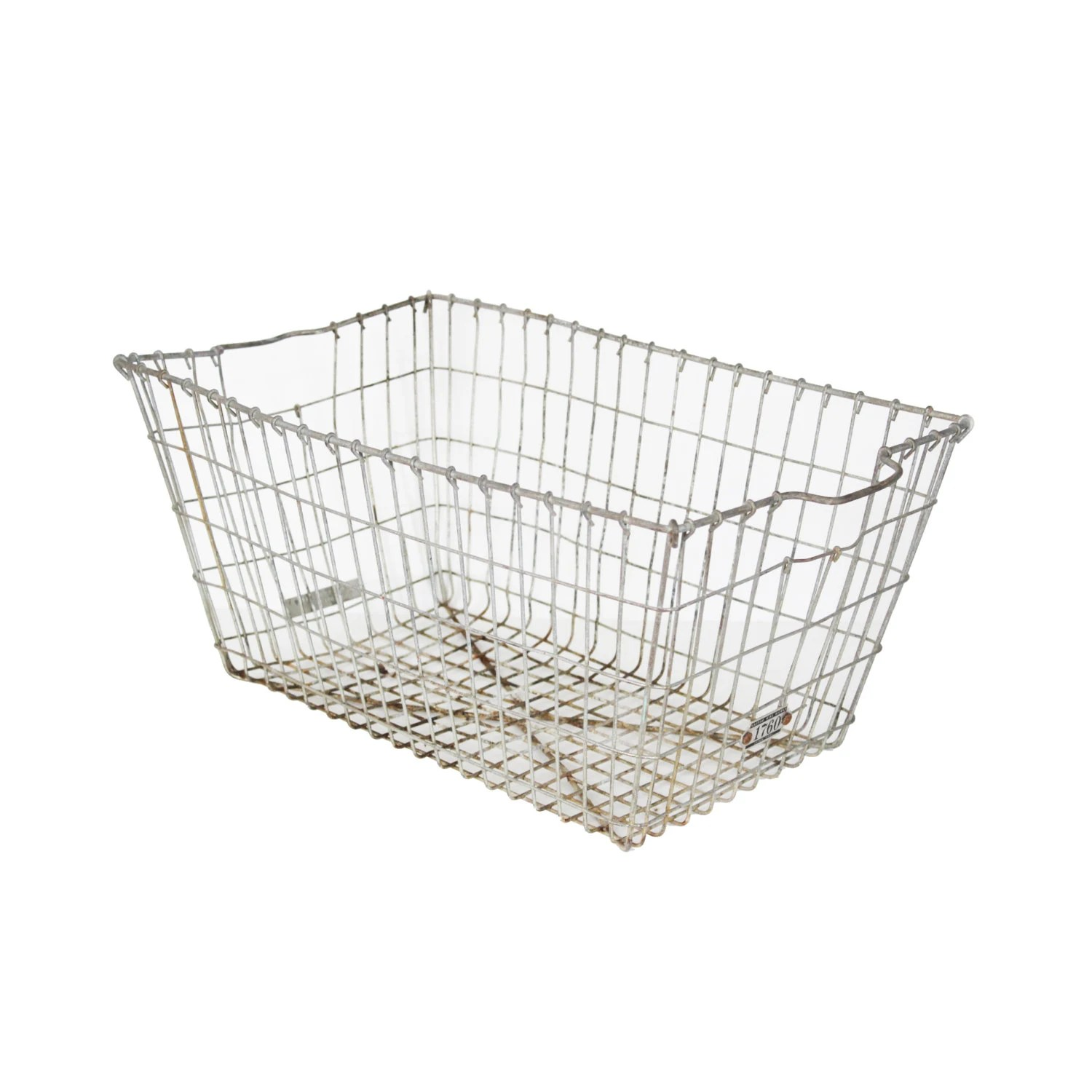 Vintage Large Metal Wire Locker Basket Kaspar Wire Works