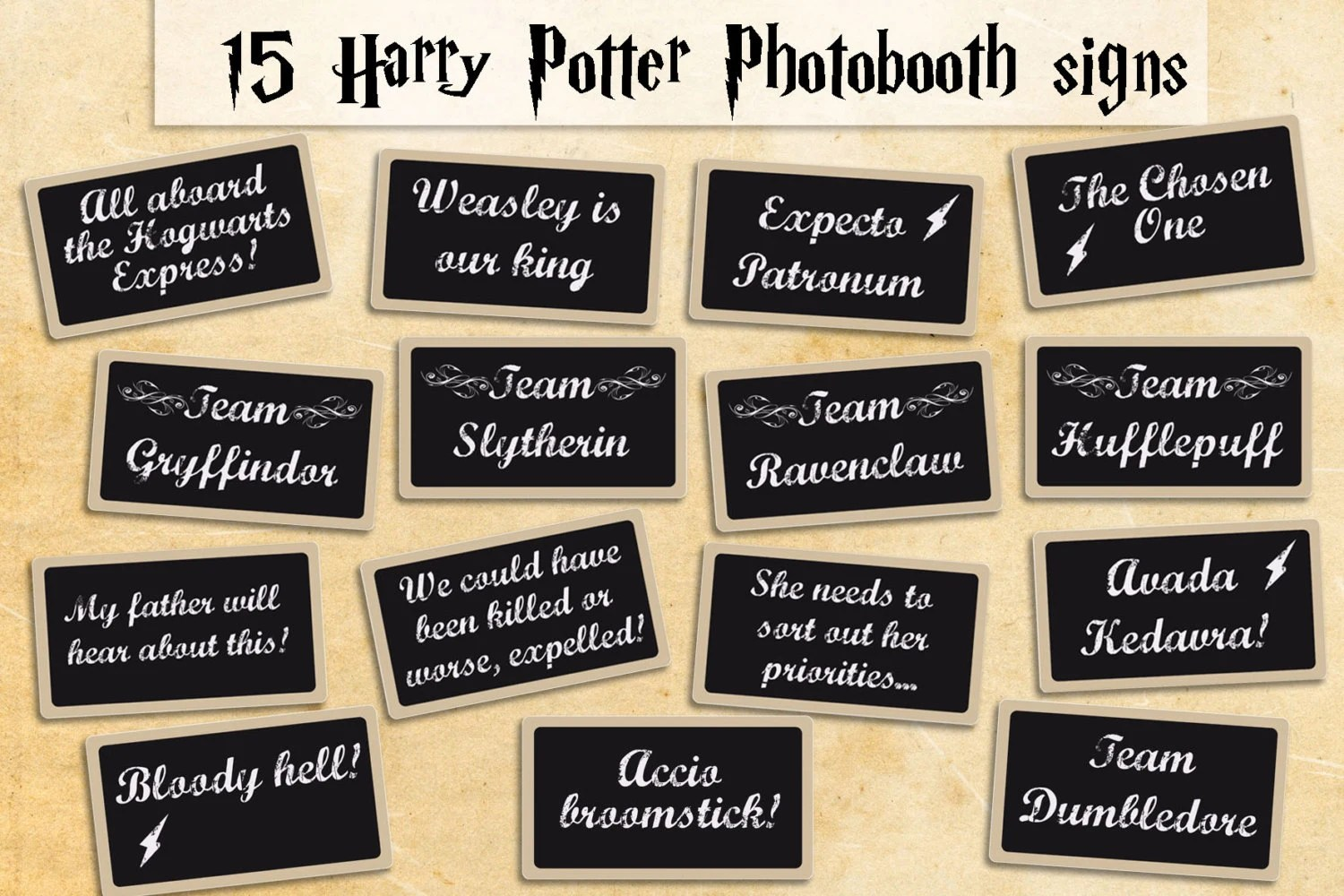 Printable Harry Potter Photobooth Props Instant Download