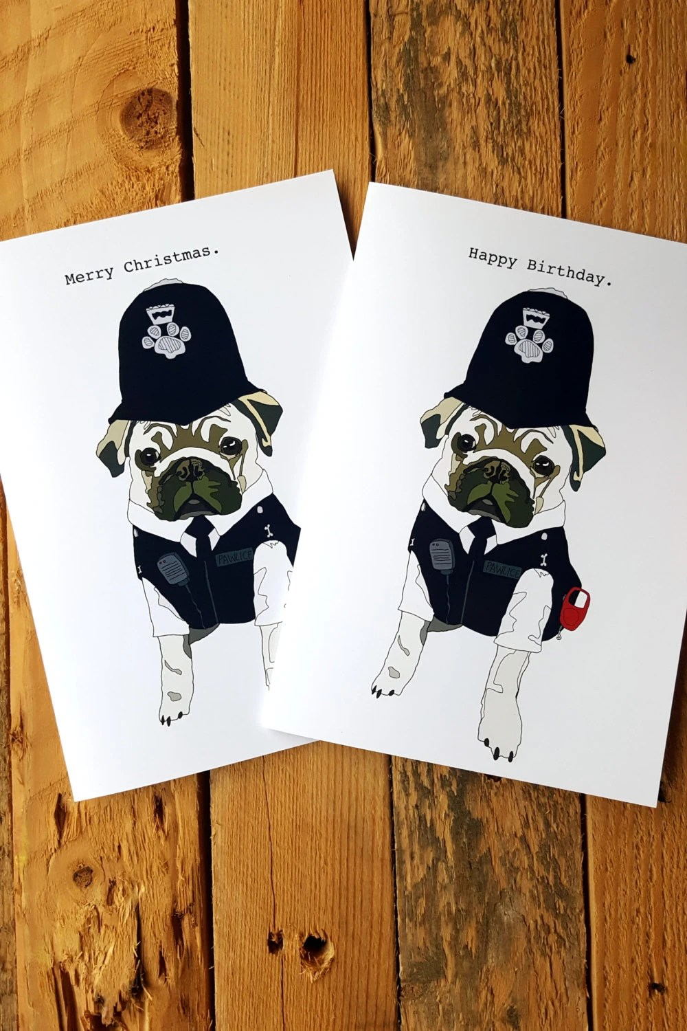 Police Officer Pug Birthday Card Police Retirement Card