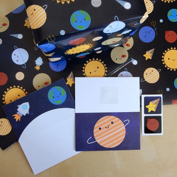 Solar System Gift Wrap Set with tags and stickers Kawaii