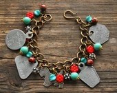 Vintage Westie Dog Tag Charm Bracelet in Silver, Red, Turquoise - Vintage Assemblage