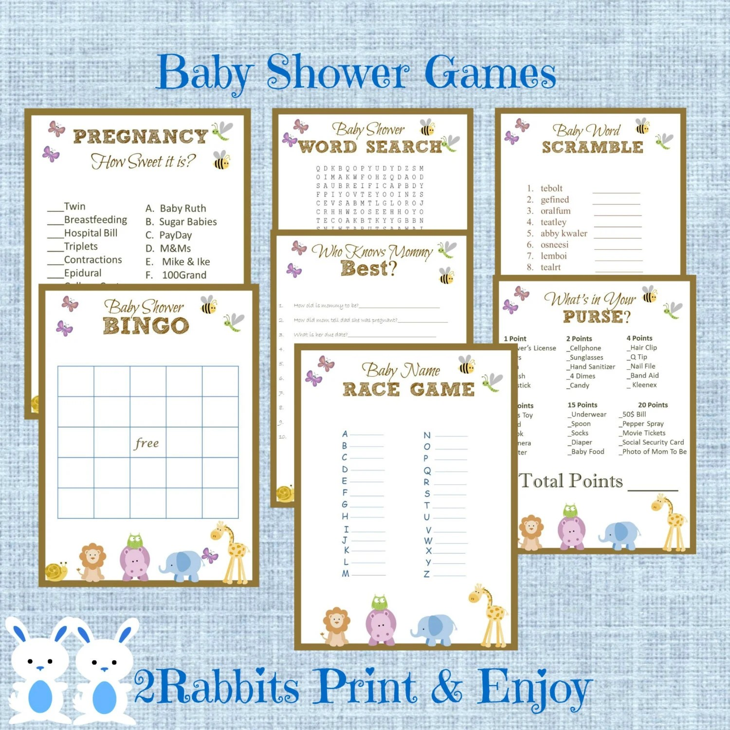 Safari Jungle Baby Shower Games Package 7 Printable Games Name