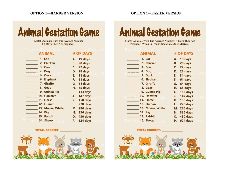 Woodlands Animal Gestation Game Printable Animal Pregnancy