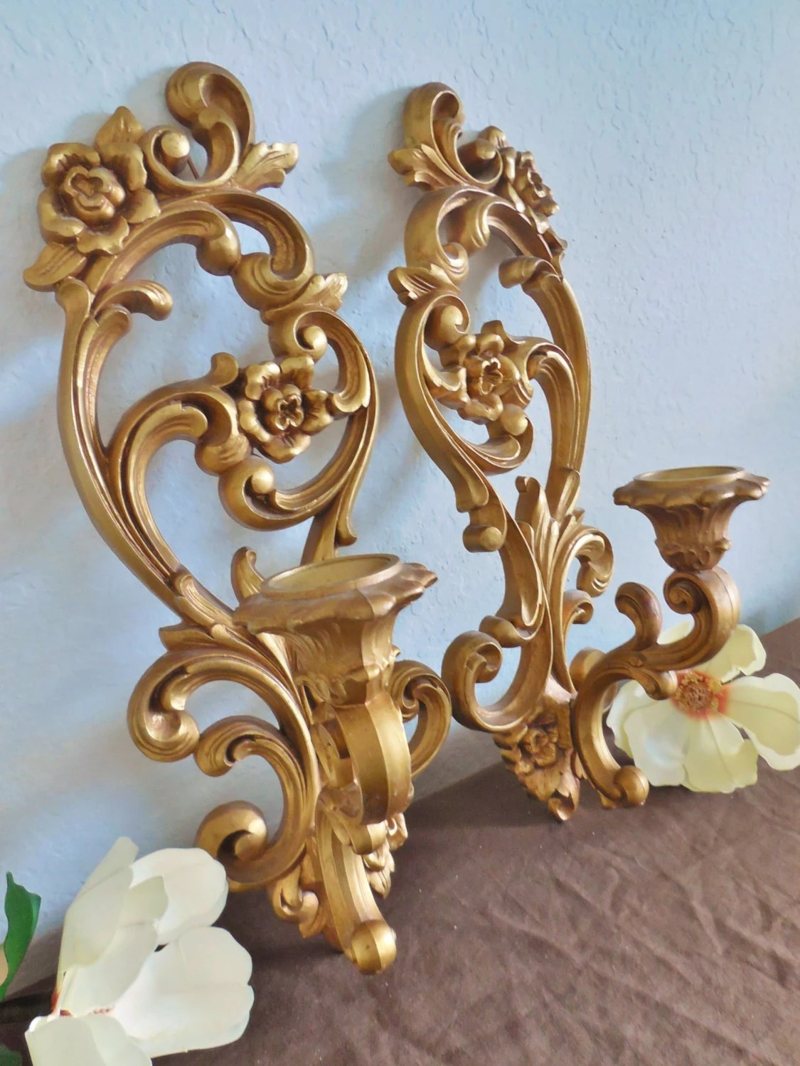 Gold Flower Wall Sconce Candle Holder Set of 2 Vintage Homco on Candle Wall Sconces With Flowers id=79197