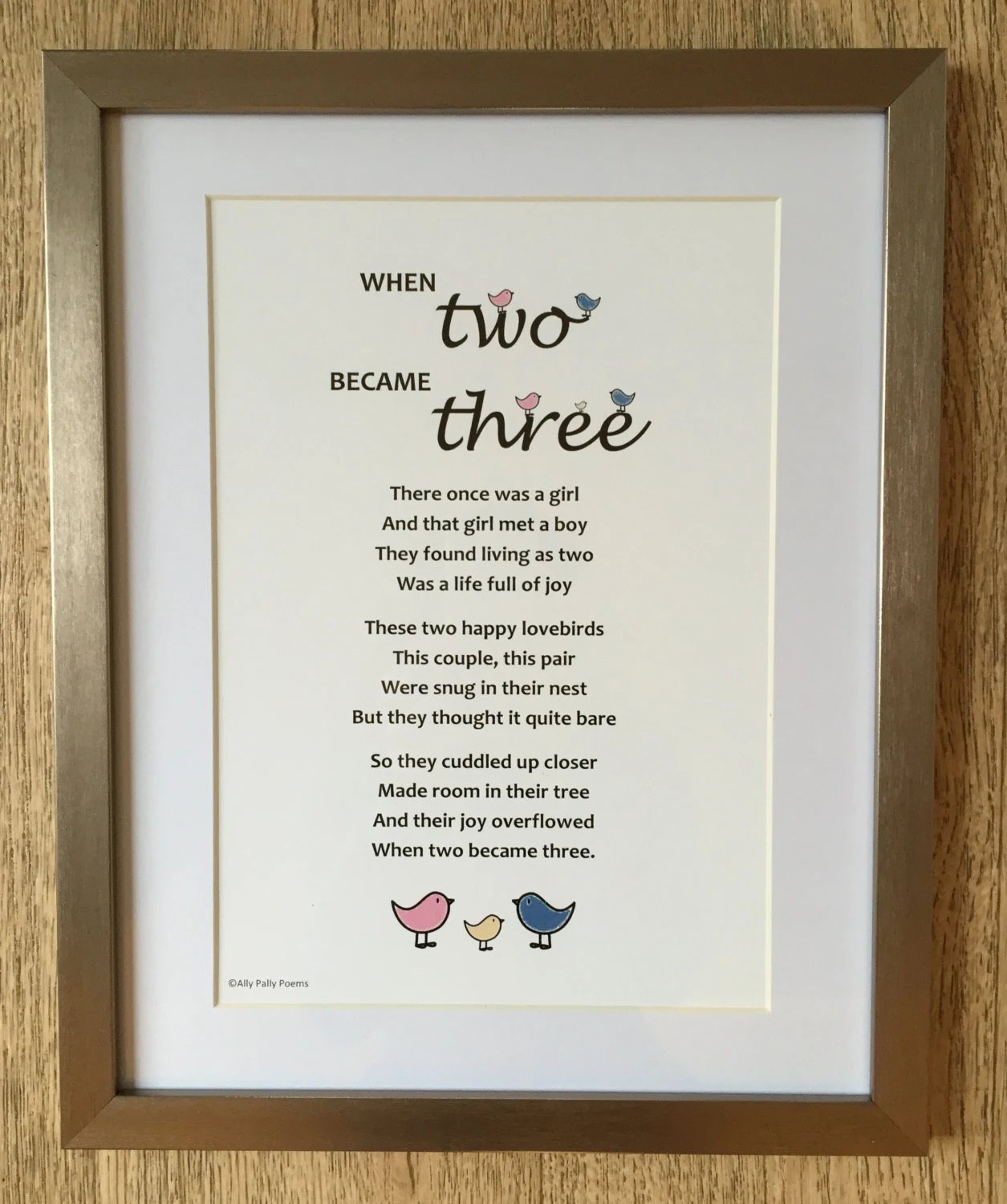 Poem For New Baby When Two Became Three Gift For