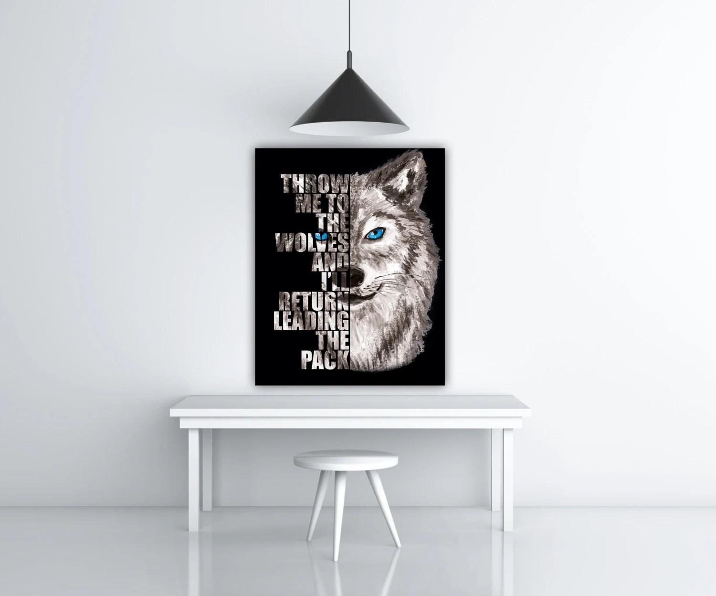 Wolf Print Wild Animal Wall Art Blue Eyes Wolf Decor