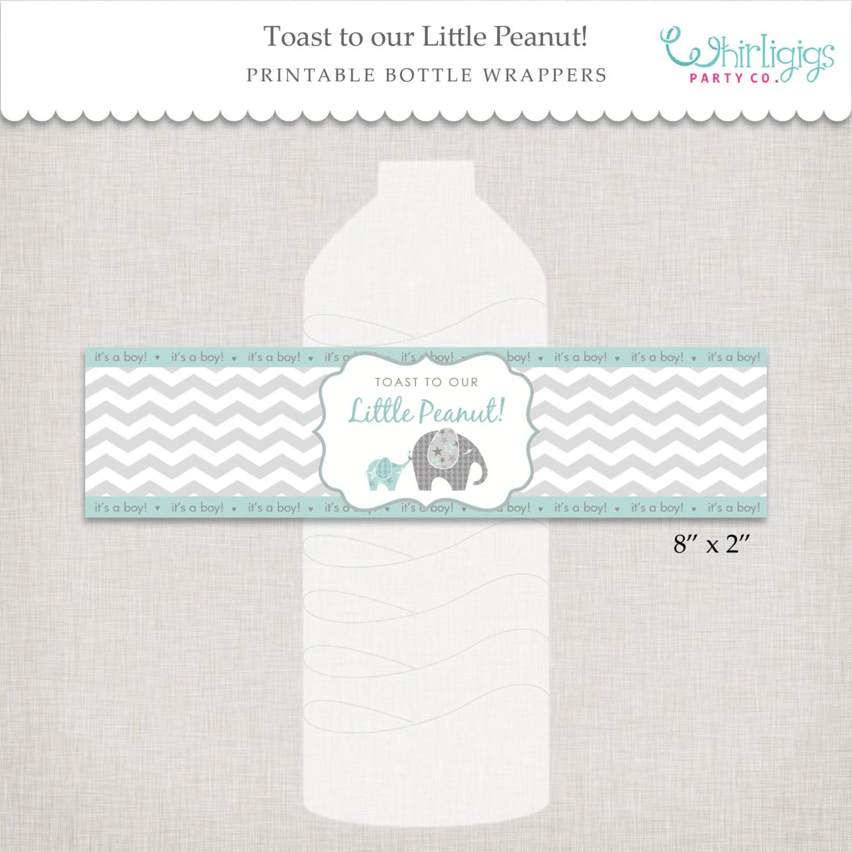 Little Peanut Bottle Wrappers Elephant Baby Shower Diy